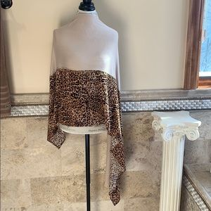 Leopard 🐆 Print bejeweled Cotton Scarf Shawl